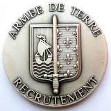 MEDALIE PLACHETA MILITARA ARMATA FRANTA ARMEE DE TERRE RECRUTEMENT IN CUTIE **, Europa