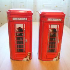 Cutie Reclama - Lot 2 cutii model CABINA TELEFON, cutie metalica ceai Ceylon Darjeeling, -poze