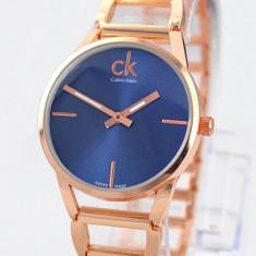 Ceas de Dama Calvin Klein, Elegant, Quartz, Placat cu aur, Placat cu aur, Rezistent la apa - CEAS DAMA CALVIN KLEIN PLATINUM LABEL GOLD&BLUE-SUPERB-COLECTIE 2016-CALITATEA 1