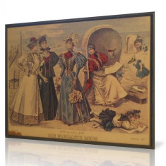 Litografie GERMANIA - DIE ELEGANTE MODE - 1896 (color - 37x30cm)