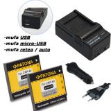 PATONA   Incarcator 4in1 USB + 2 Acumulatori pt Casio NP-60 NP60 NP 60 - Baterie Aparat foto