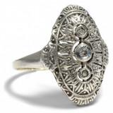 Inel diamant, 46 - 56 - Inel art deco anul 1930 aur 14crt in montura argint si diamante superba