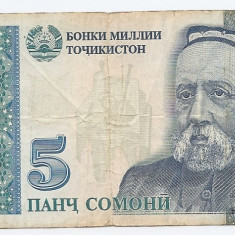 Tajikistan 5 Somoni 1999 (5762509) P-15 - bancnota asia