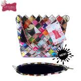 Geanta ECO multicolora din hartie / reviste (19 x 17 x 6 cm) - Geanta handmade