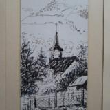 Bede Istvan, Biserica la tara, tablou in miniatura, Peisaje, Cerneala, Altul
