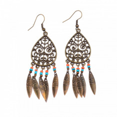 Cercei Fashion - Cercei candelabru cu frunzulite, margelute si motive tribale #174