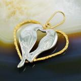 Pandantiv model Inima si Porumbei, Placat cu Aur 18k, cod 358