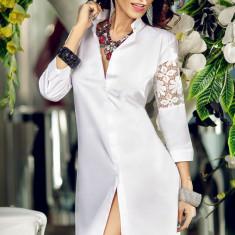 Bluza dama - BL544-2 Bluza lunga eleganta, tip camasa, cu insertii din dantela