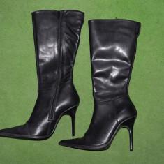 Cizme de dame, din piele neagra, marimea 35, toc cui de 10cm, cu fermoar - Cizme dama, Culoare: Negru, Piele naturala