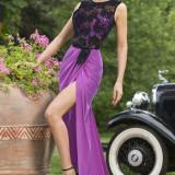 N430-1110 Rochie eleganta de seara, cu trena si dantela brodata