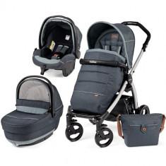 Carucior copii 2 in 1 Peg Perego - Carucior 3 in 1 Book Plus Black Silver Completo SL Blue Denim