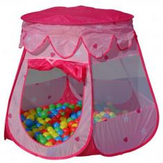 Casuta copii, 2-4 ani, Fata, Roz, Plastic - Cort de joaca cu 100 bile colorate