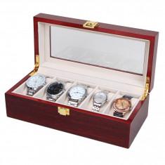 Cutie Ceas - Cutie organizare ceasuri cutie depozitare 5 ceasuri LEMN 5 spatii caseta ceasuri