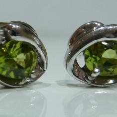 Cercei aur 14k cu peridot si diamante