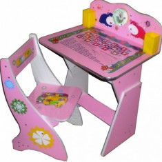 Masuta/scaun copii - Birou cu scaunel reglabil Babyland ROZ/ALBASTRU