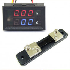 Voltmetru si ampermetru digital DC 0 - 100V 0-50A + Shunt Extern Inclus 50A