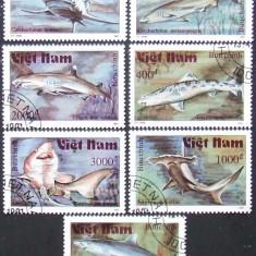 VIETNAM 1991 - RECHINI 7 VALORI, OBLITERATE - EO 027A
