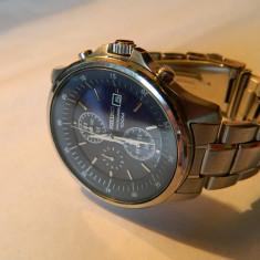 Ceas barbatesc SEIKO Chrono 100 M, data, cadran albastru, Elegant, Quartz, Inox, Cronograf