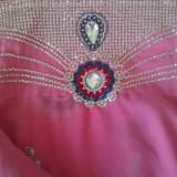 Saree indian, Marime: 38, Culoare: Argintiu, Satin