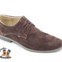 Pantofi barbati Suave, Piele intoarsa - Pantofi maro PIELE NATURALA intoarsa