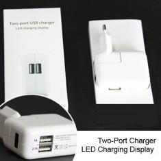 Adaptor incarcator USB la priza 2 porturi Incarcator priza - COD 2043 -