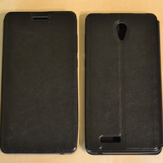 Husa telefon, Negru, Piele Ecologica, Toc, Cu clapeta - Husa Allview P6 LIFE Flip Case Slim Black