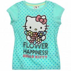 Tricou maneca scurta 4-10 ani - Hello Kitty - art 87700 turcoaz, Marime: Alta