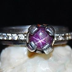 Inel argint - Inel superb argint 925 model logodna cu piatra naturala de rubin stelat! anturaj zirconii! marime mica!