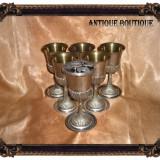 Set cupe pocale vin antique placate cu argint