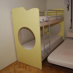 Set mobila copii - Mobila copii Neoset - 3 paturi suprapuse si sifonier 4 usi