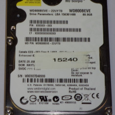 HARD DISK IDE HDD laptop Western Digital IDE HDD 2.5 INCH NETBOOK NOTEBOOK 80 GB IDE PATA WD SCORPIO WD800BEVE TESTAT 100% OK 5400 rot 8 MB, IDE, 41-80 GB, Rotatii: 5400