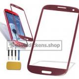 Sticla Display Fata Samsung Galaxy S3 i9300 ROSU + folie protectie ecran