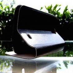 Husa Nokia Lumia 520 Flip Case Slim Black, Negru, Piele Ecologica, Toc, Cu clapeta