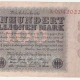 bancnota europa, An: 1923 - (1) BANCNOTA GERMANIA - 100 MILLIONEN MARK 22 AUGUST 1923 - UNIFATA