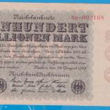 bancnota europa, An: 1923 - (23) BANCNOTA GERMANIA - 100 MILLIONEN MARK 22 AUGUST 1923 - FILIGRAN CRUCIULITE