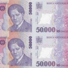 Bancnote Romanesti, An: 2001 - ROMANIA 4 X 50.000 lei 2001 COALA NETĂIATĂ + certificat UNC!!!