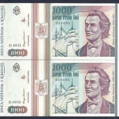 Bancnote Romanesti, An: 1993 - ROMANIA 1000 1.000 LEI 1993 UNC SERII CONSECUTIVE pret /2 buc [01] necirculata