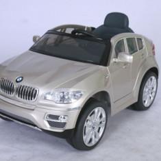 Masinuta electrica copii - Masinuta BMW X6 metalizata cu acumulator si telecomanda Champagne Ramiz