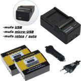 PATONA | Incarcator 4in1+ 2 Acumulatori pt ActionCam SJ4000 Camera Sport SJ4000B - Baterie Aparat foto