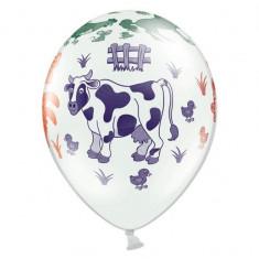 Baloane albe, imprimate, ''Ferma animalelor'', 6buc/set - Baloane copii