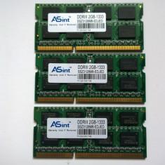 Sodimm Nanya Asint 2Gb DDR3 PC3 10600 1333Mhz Memorie Laptop - Memorie RAM laptop Nanya, Triple channel