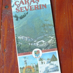 Harta turistica - Judetul Caras Severin - perioada comunista - anii 80 !!!