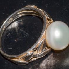Inel vechi - frunze de laur cu Perla- argint (7) - Inel argint