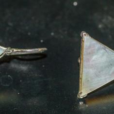 Cercei triunghiulari din argint cu sidef(17) - Cercei argint