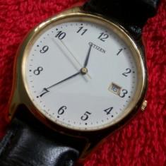 Superb ceas CITIZEN, barbatesc, cu data - Ceas barbatesc Citizen, Elegant, Quartz, Inox, Piele