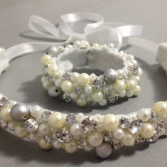 Set diadema si bratara mireasa - Bratara perle