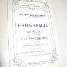 PROGRAM MUZICAL, DAT IN NOAREA A.S.R.PRINCIPELUI CAROL, 1921
