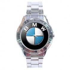 Ceas barbatesc, Lux - sport, Quartz, Inox, Inox, Analog - Ceas model BMW curea metalica cutie simpla cadou metal argintiu