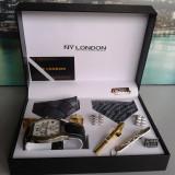 Ceas barbatesc, Casual, Quartz, Inox - Set ceas cadou cu cravata eleganta- NY London -7 piese (cod:827)