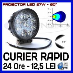 Iluminat exterior ZDM - PROIECTOR LED ROTUND 12V, 24V - OFFROAD, SUV, UTILAJE - 27W DISPERSIE 60 GRADE